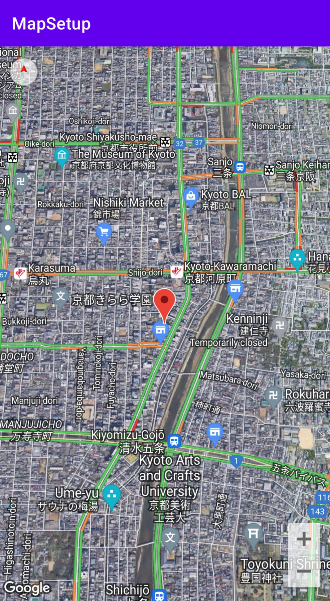 Captura de pantalla de un mapa de Kioto con la configuración del mapa definida.