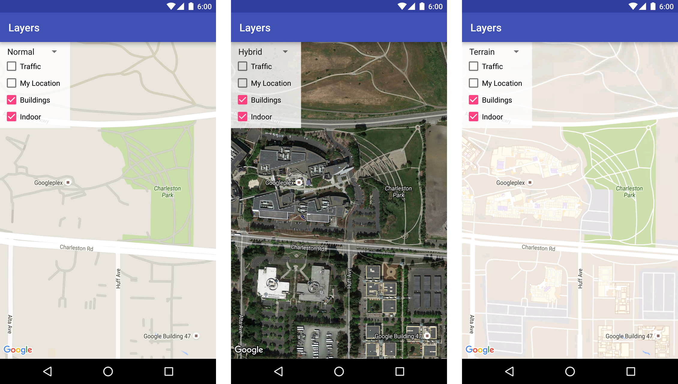Developers - [Google Maps Android API] Add map type selector -