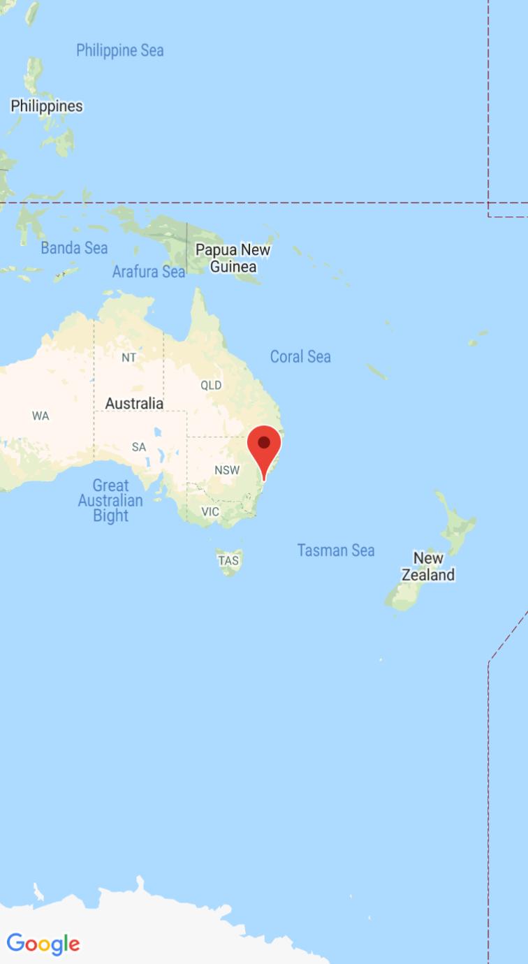 Captura de pantalla con el mapa y un marcador centrados en Sídney, Australia.