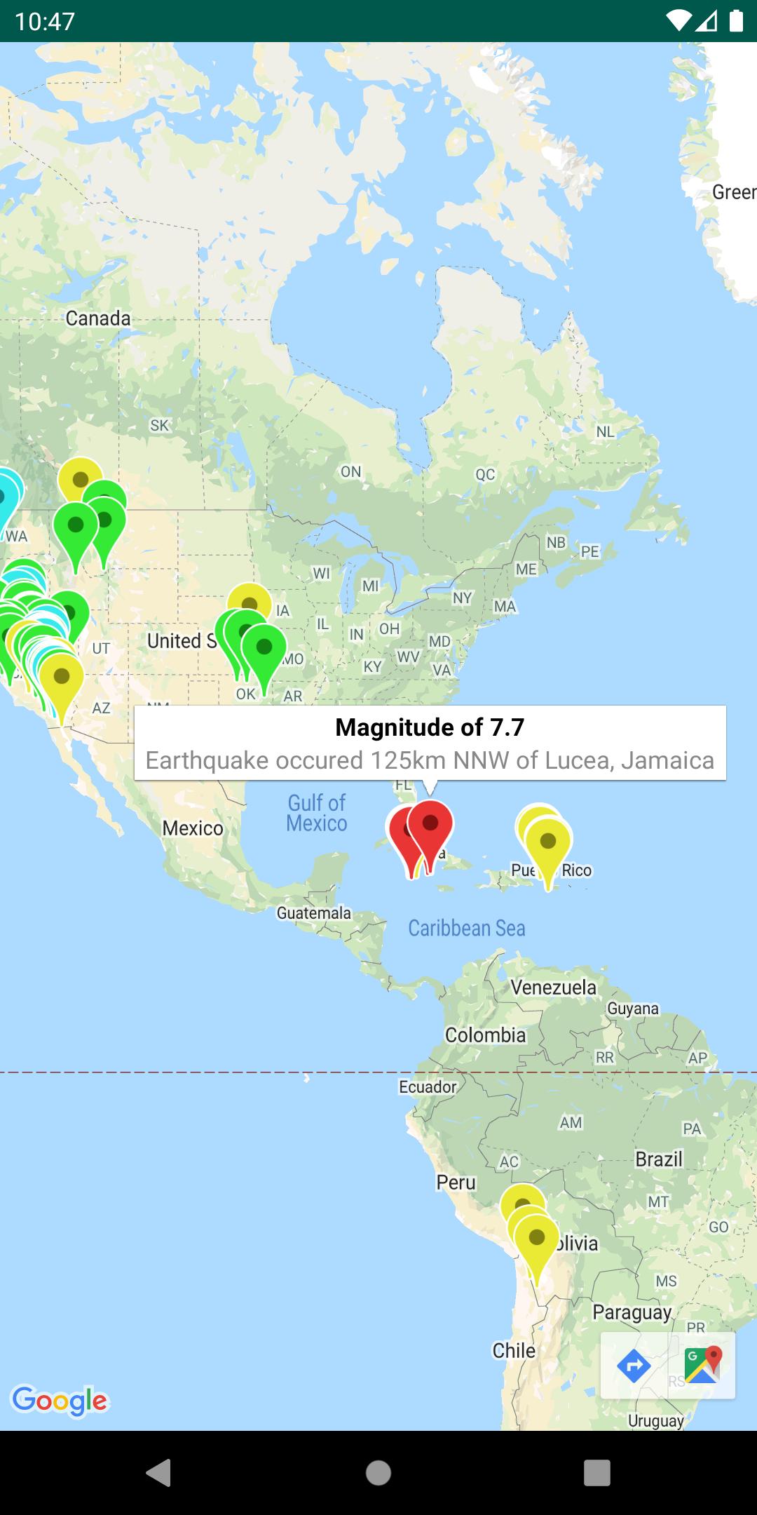 Sebuah peta dengan layer GeoJSON