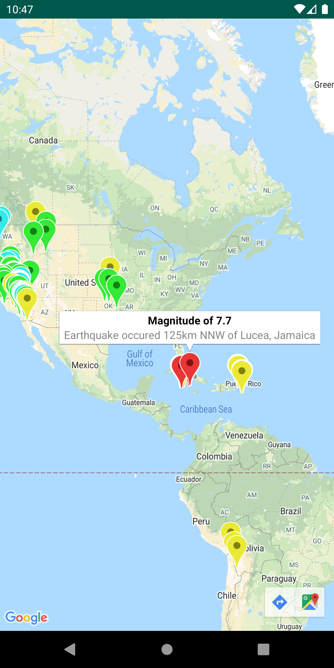 一幅包含 GeoJSON 叠层的地图