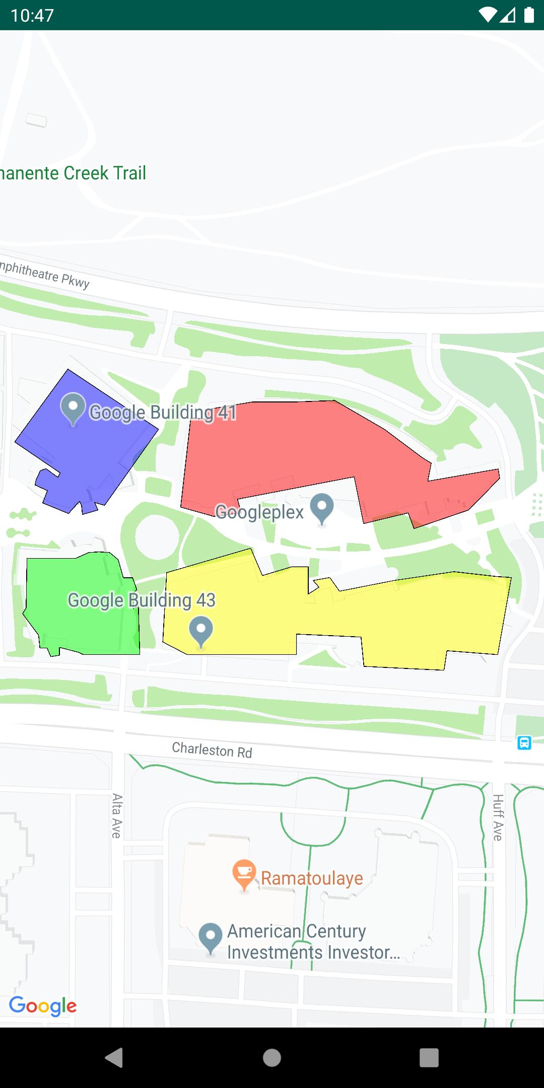 Un mapa con una capa KML