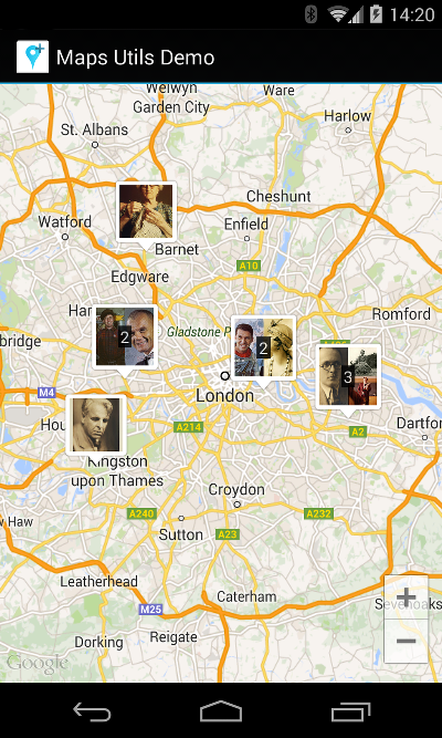 Google Maps Android Marker Clustering Utility | Maps SDK for ... on google maps tablet, bing maps for android, google plus for android, google maps for kindle fire, google voice for android, google maps background, google sketchup for android, google apps for android, google search for android, google birthday for android, google maps for iphone, google wallpaper for android, google play for android, google applications for android, google drive for android, google icons for android, google maps firefox, google sky for android, google launcher for android, google earth for android,