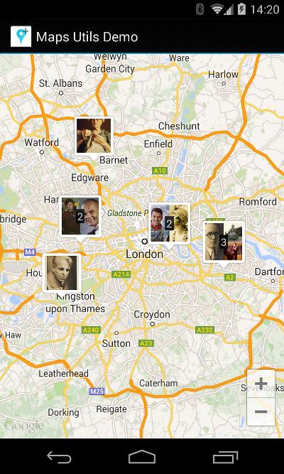 Mapa con marcadores agrupados en clústeres personalizados
