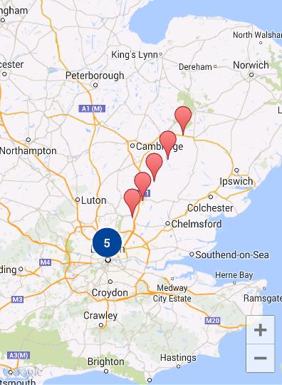 Mapa com dez marcadores em cluster