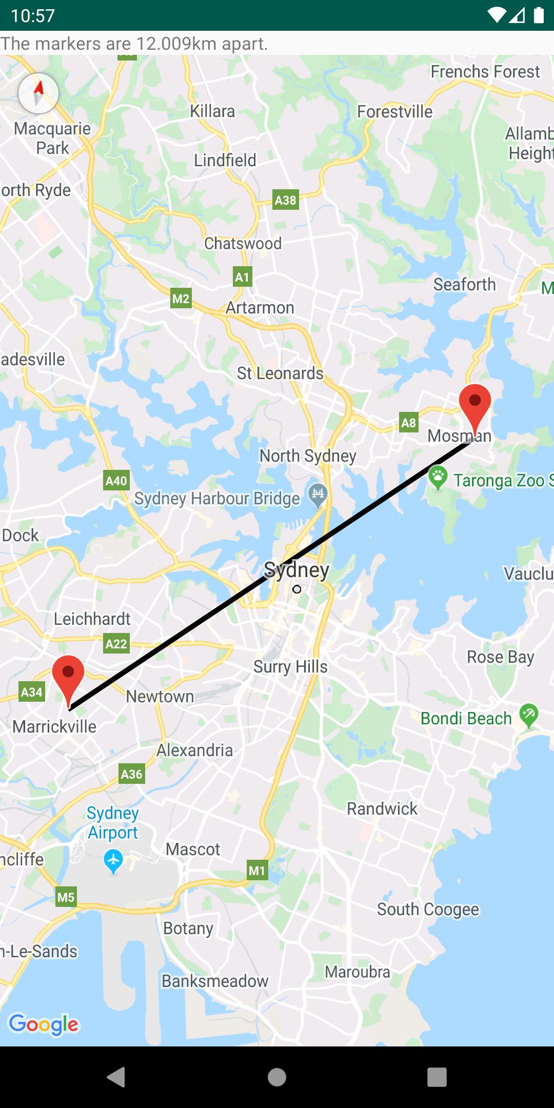 Рассчитанное расстояние между двумя точками на карте