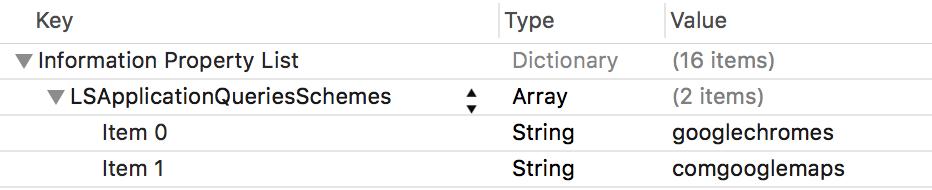 Configuração de LSApplicationQueriesSchemes no Xcode