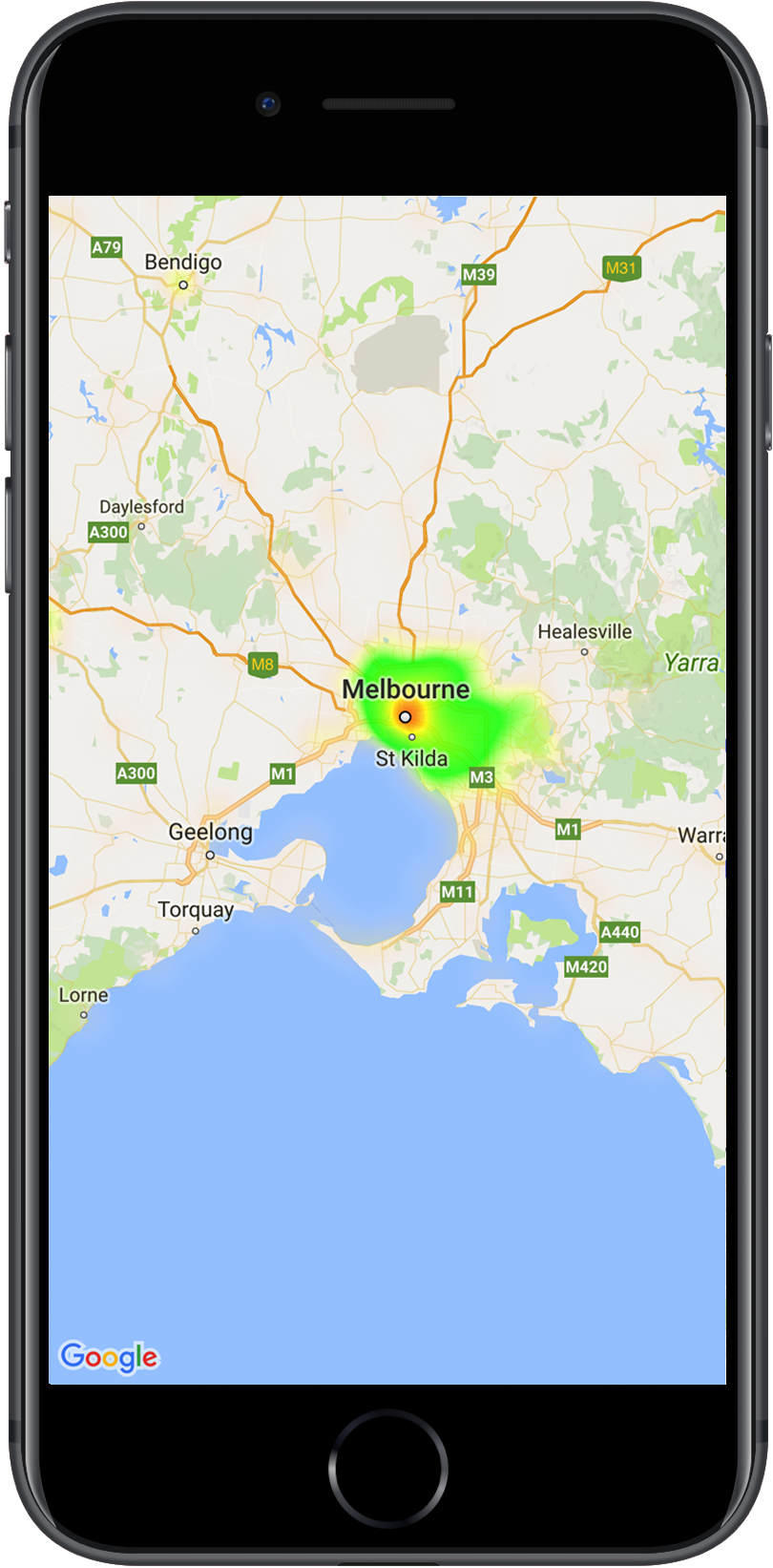a map with a heatmap showing location of police stations. heatmaps  google maps sdk for ios  google developers