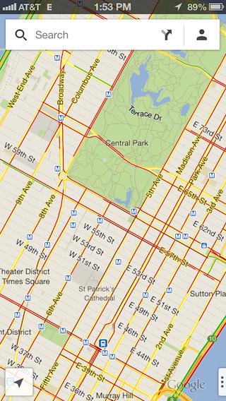 Карта со сведениями о дорожной ситуации в Нью-Йорке