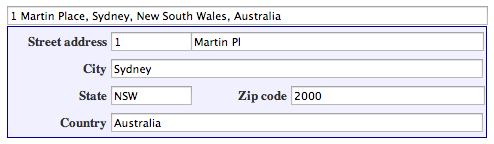 Sebuah formulir alamat lengkap.