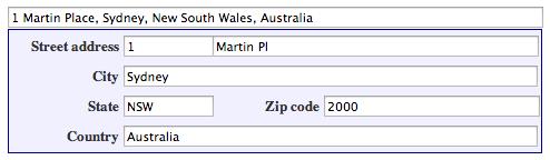 Заполненная форма адреса.