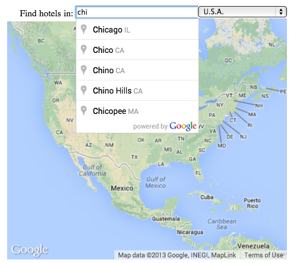 An autocomplete text field showing a partial city search query     and matching places.