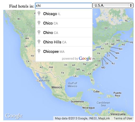Текстовое поле подсказки мест, показывающее частичный поисковый запрос города и соответствующие места.