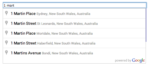 An autocomplete text field, and the pick list of place     predictions supplied as the user enters the search query.