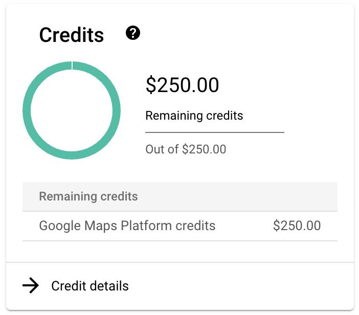 Créditos adicionales de GoogleMapsPlatform