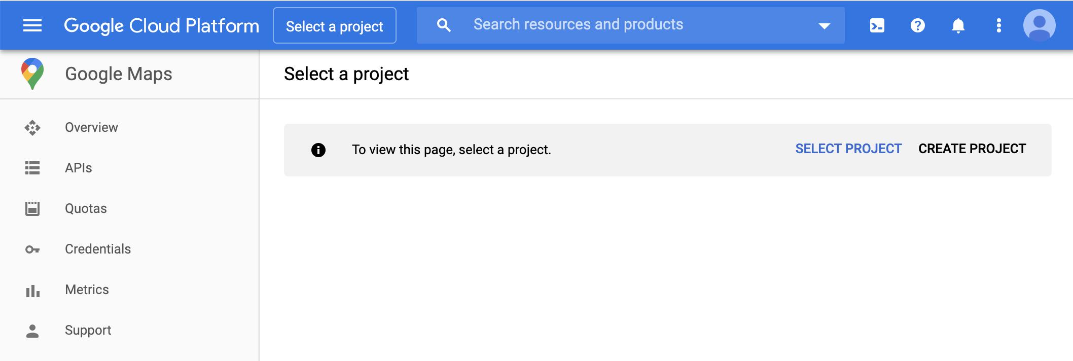 Google Maps Platform のダッシュボード