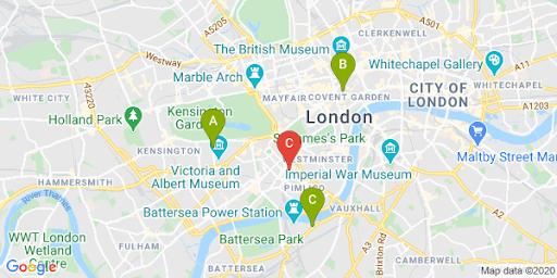Карта города, на которой красным маркером отмечено местоположение пользователя, а зелеными– находящиеся поблизости офисы или магазины.
