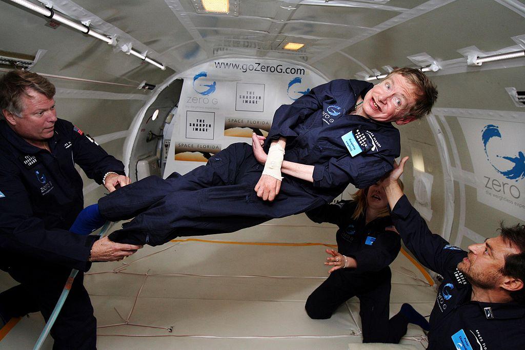 Physicist Stephen Hawking in Zero Gravity from NASA