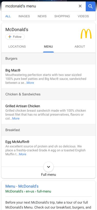 Speisekarte von McDonald's