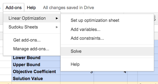 Linear Optimization Add-on for Google Sheets | OR-Tools | Google