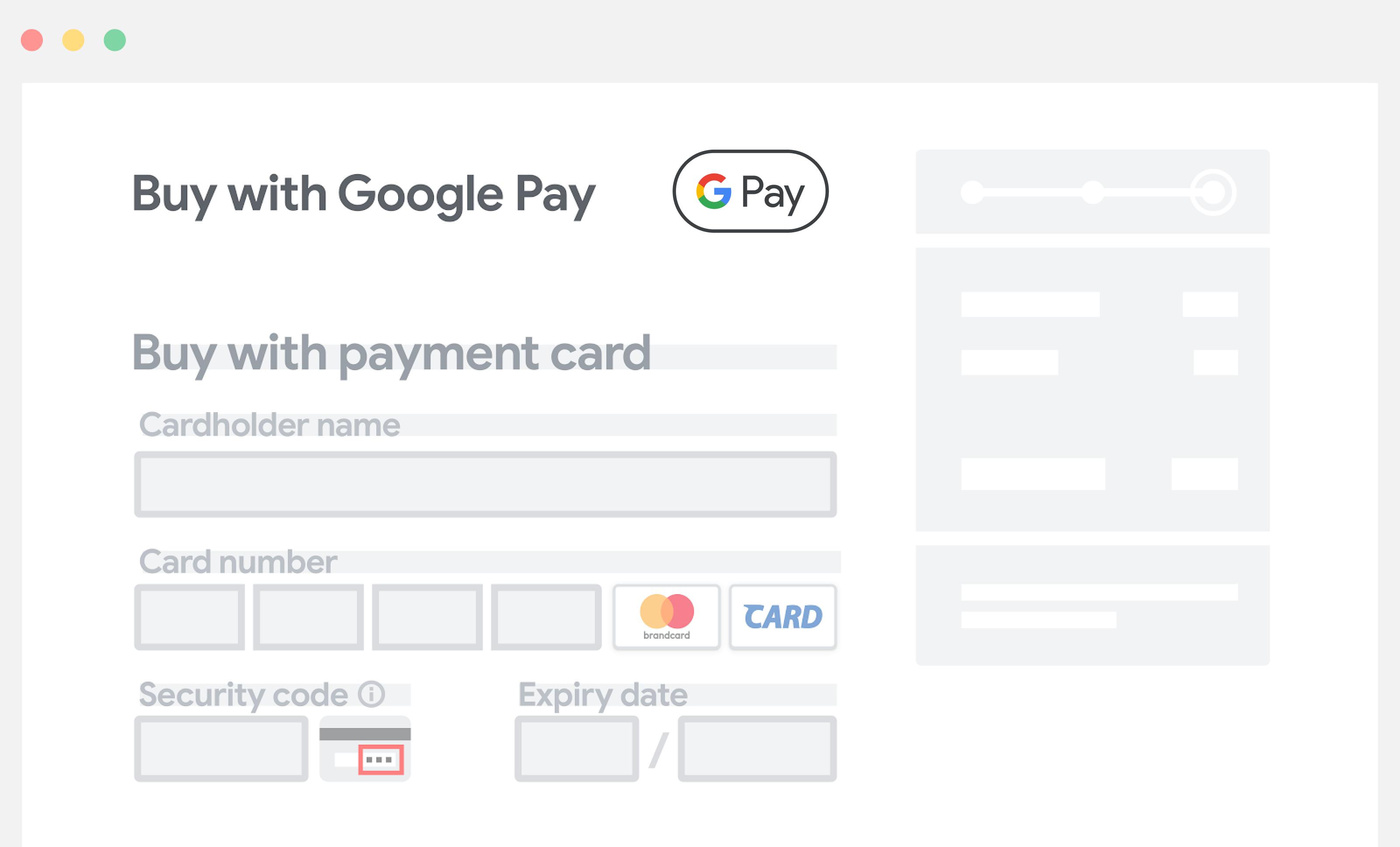 Colocar o Google Pay acima dos campos de entrada manual das informações de pagamento.