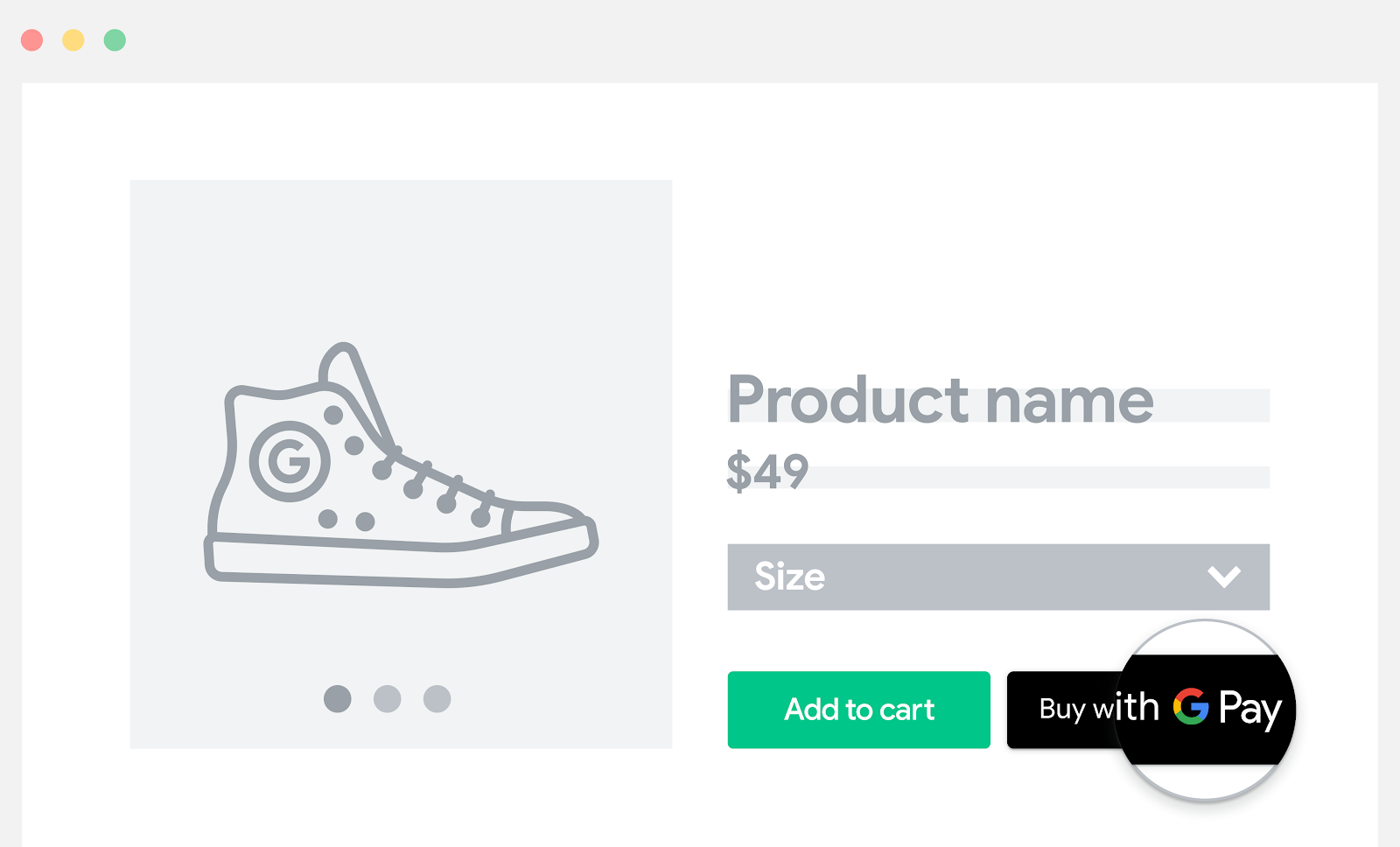 Google Pay を商品ページに追加する。