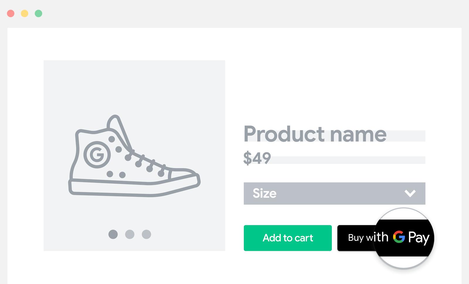 将 Google Pay 添加到商品页面中。