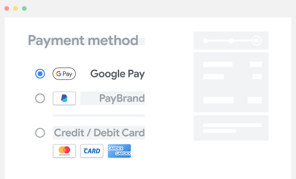 Place Google Pay at the top of the list of payment options.