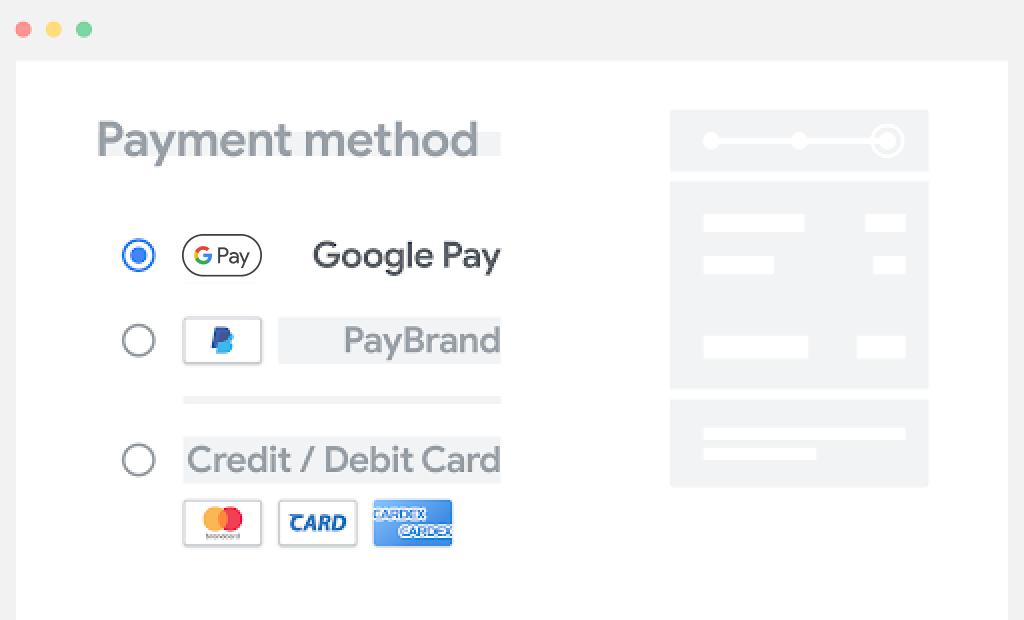 Google Pay をお支払いオプションのリストの一番上に配置する。