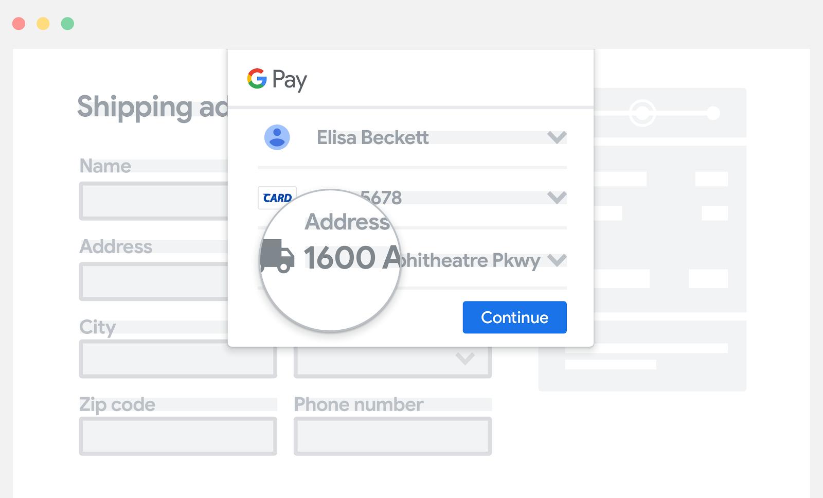 Google Pay を支払い情報の手動入力フィールドの上に配置する。