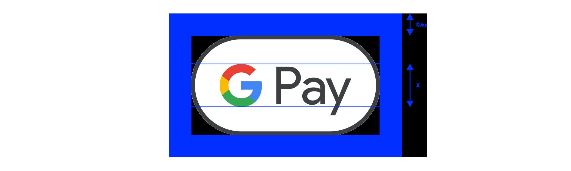 Google Pay 標誌周圍留空範例