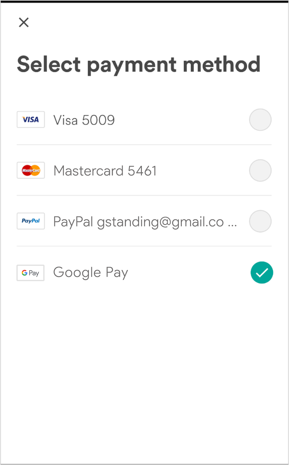 Example payment screen including Google Pay as one of multiple supported payment methods