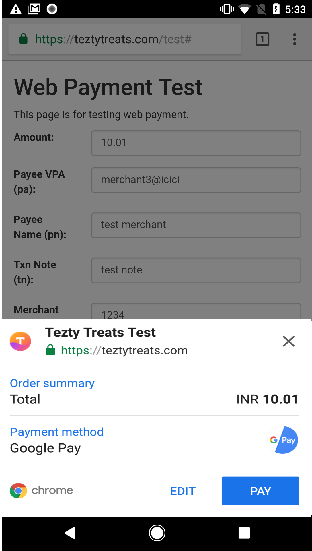 Select Google Pay for payment