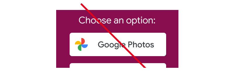 Screenshot of unacceptable usage of the full Google Photos logo without           action keywords