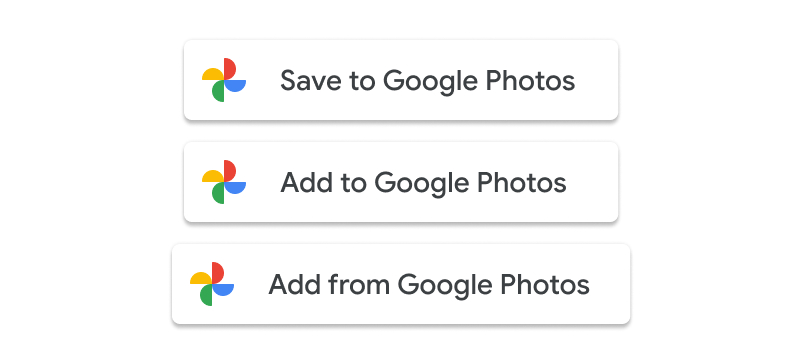 Screenshot of the acceptable usage of the Add to                   Google Photos and Save to Google Photos buttons