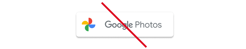 Screenshot of unacceptable usage of the full Google Photos logo as a           button