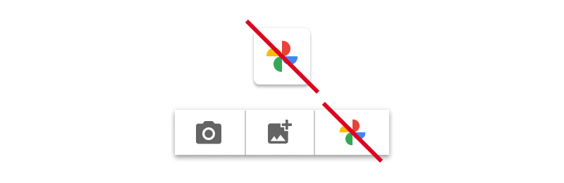 Screenshot of unacceptable usage of the Google Photos icon                   without the Google Photos wording