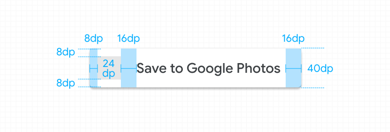 Screenshot of acceptable scaling of the standard                   Google Photos button