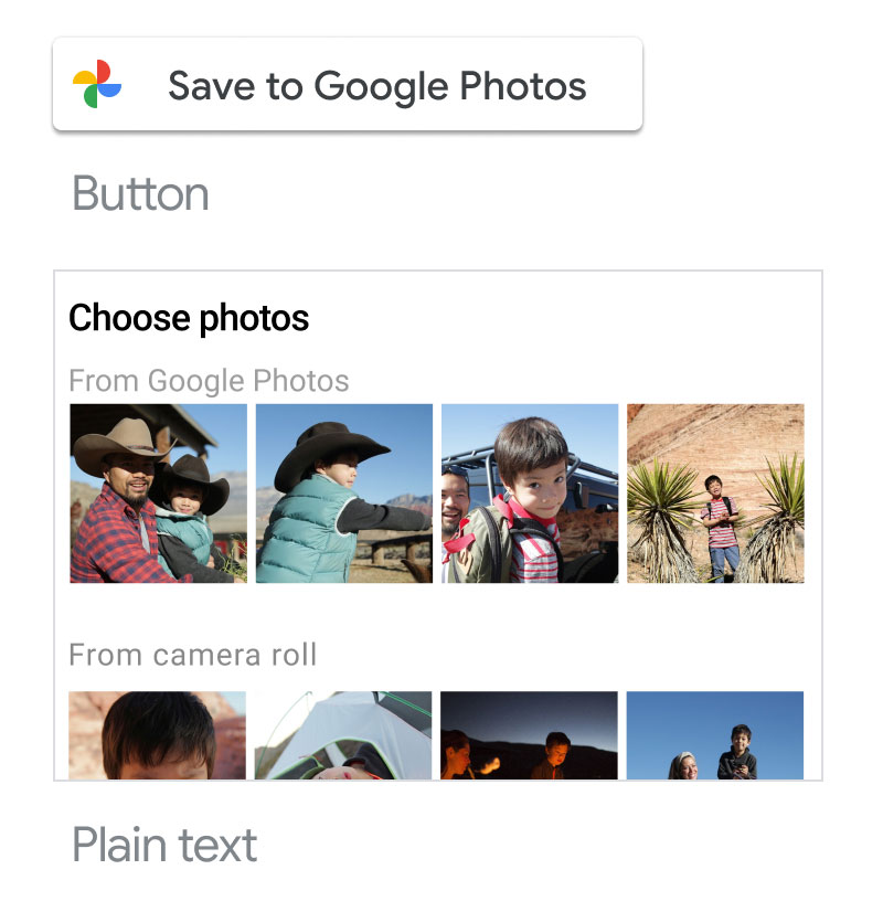 Screenshot of using acceptable Google Photos                   branded button
