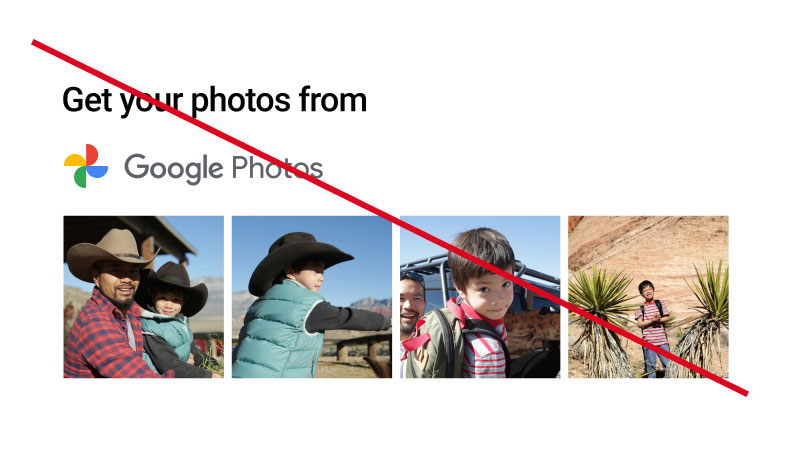 Screenshot of unacceptable usage of Google Photos branded                   button