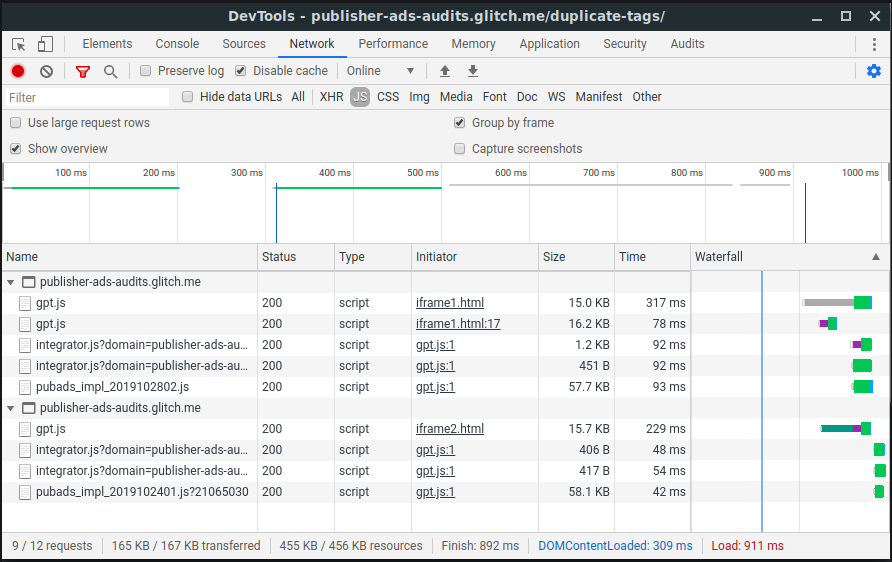 A screenshot of the Network tab in Chrome DevTools