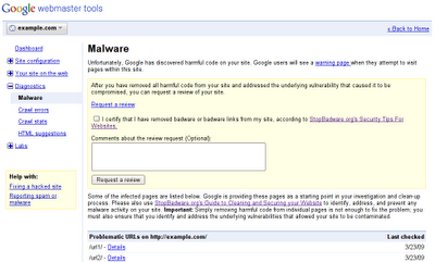 Screenshot of the new malware feature in Webmaster Tools