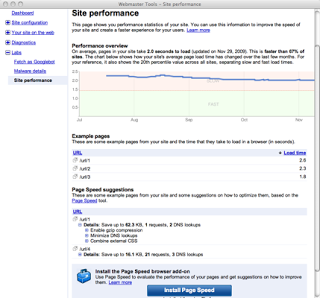 screenshot of Site Performance