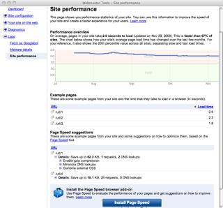 screenshot of Site Performance