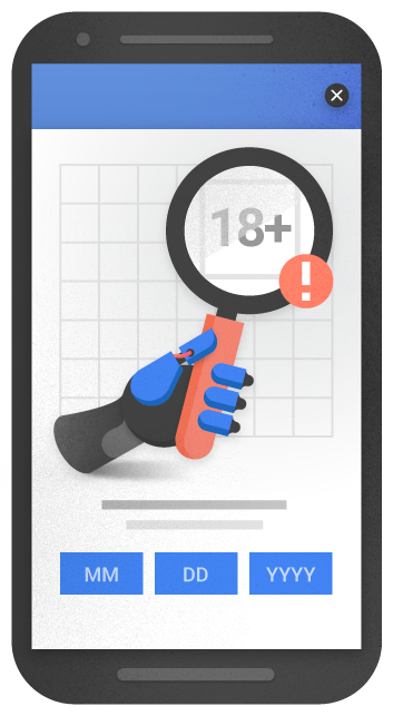 mobile optimization - An example of an interstitial for age verification