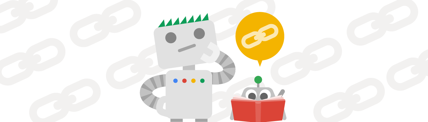 Googlebot with a spider friend thinking about links