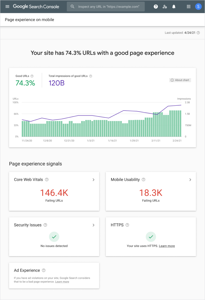 Page experience report in Search Console