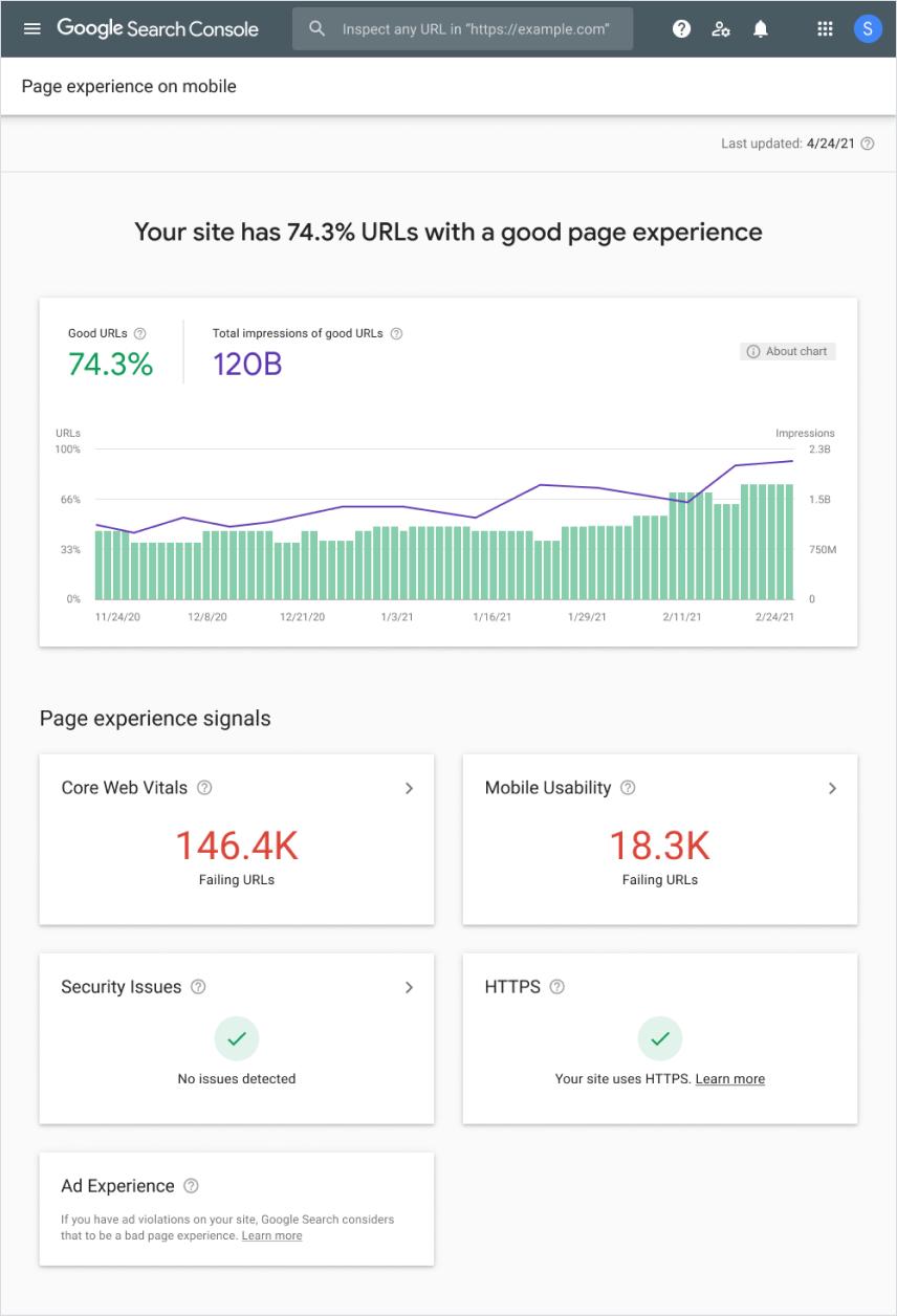 Rapporto Esperienza con le pagine in Search Console