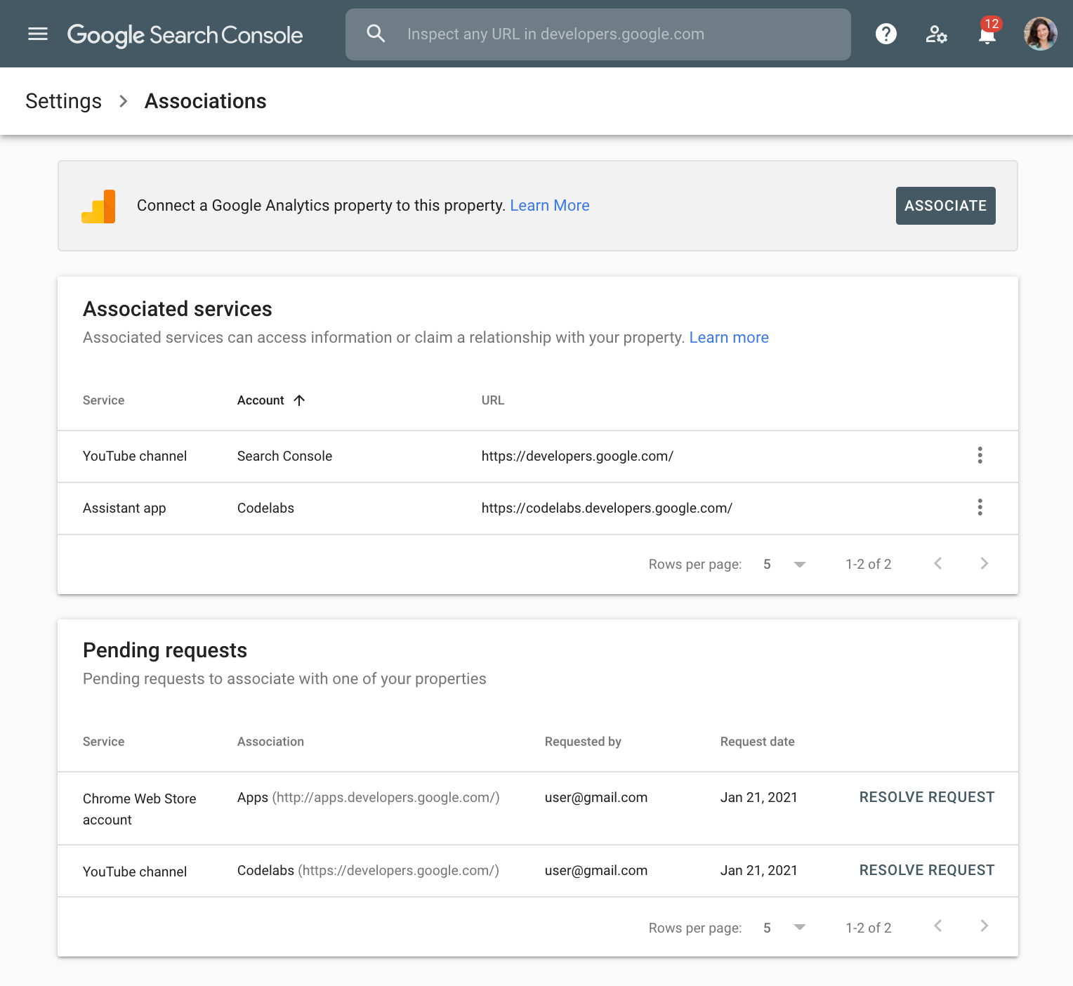Google Search Console Associations page