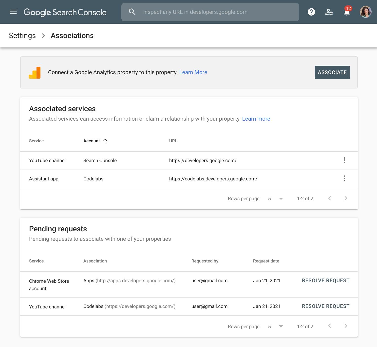 """Page """"Associations"""" dans la SearchConsole Google"""